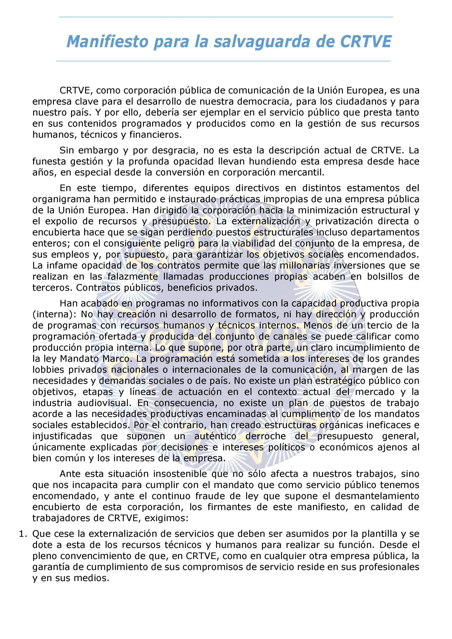 MANIFIESTO DEL PERSONAL PARA LA SALVAGUARDA DE CRTVE.