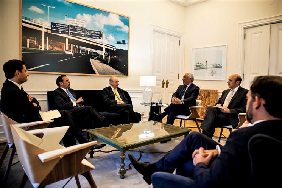 Una de las reuniones del primer ministro portugués con el jefe de la oposición para aliviar la crisis del coronavirus. SPD