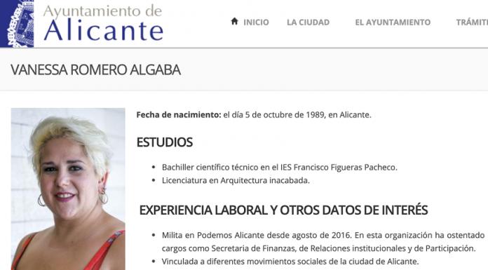 Captura de la web del Ayuntamiento de Alicante con el retrato de la concejala.