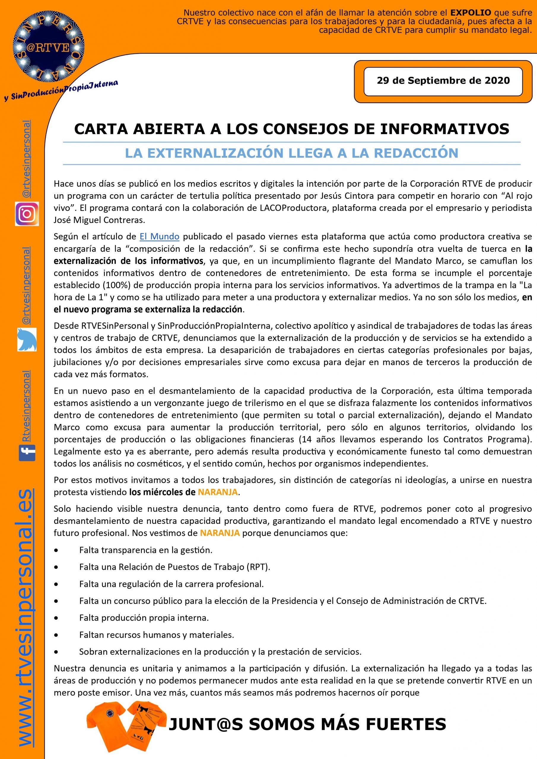 Carta abierta a los Consejos de Informativos