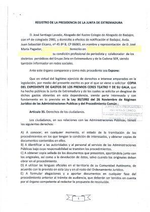 Primera petición de datos a la Junta de Extremadura en 2012 a través de mi abogado. 20.09.2012