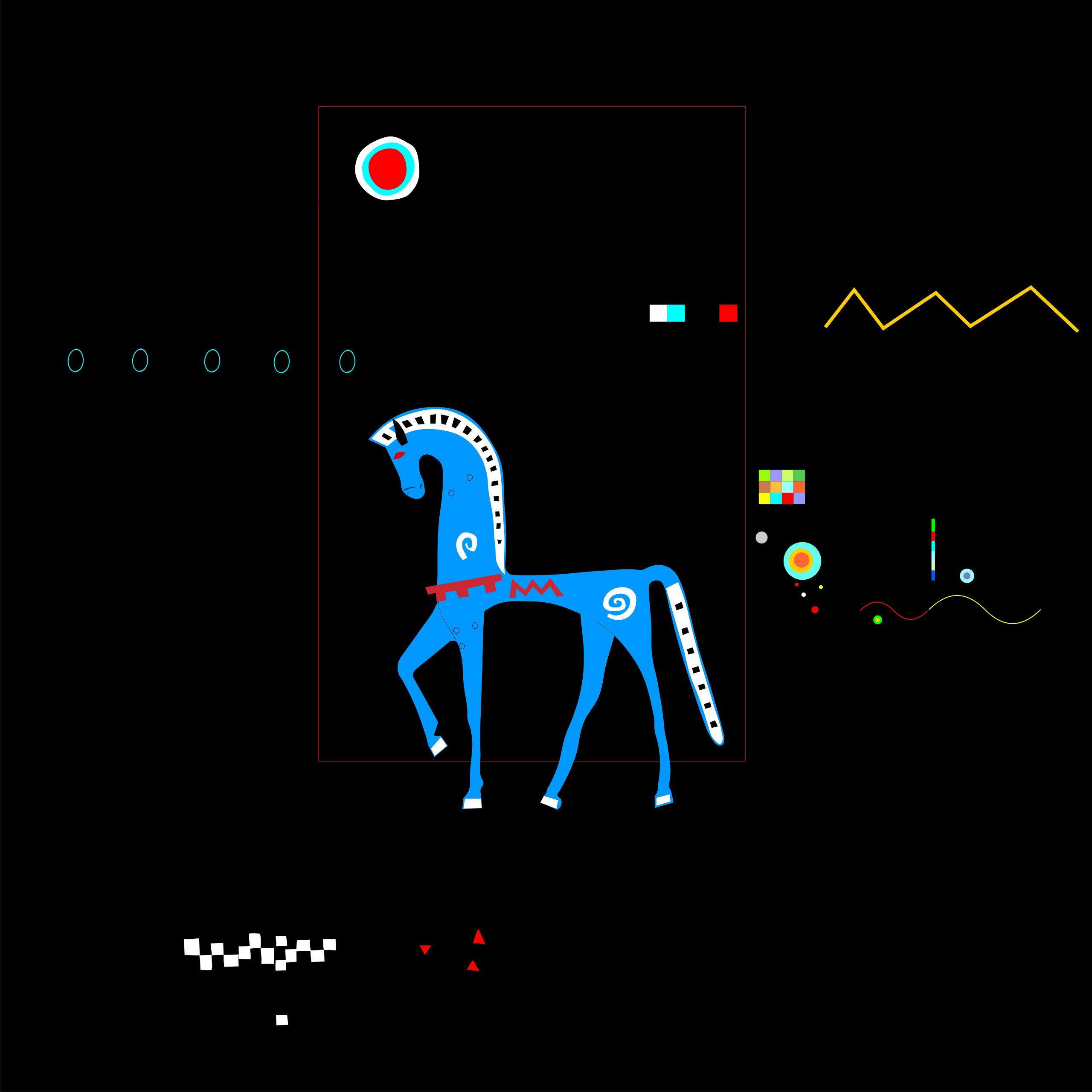 Cavall negre, una de las ilustraciones de sus desplegables.