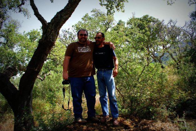 Junto al Dr. Arturo J.P. Granged (Universidad de Sevilla), durante una jornada de trabajo en el Parque Natural Los Alcornocales (Cádiz).