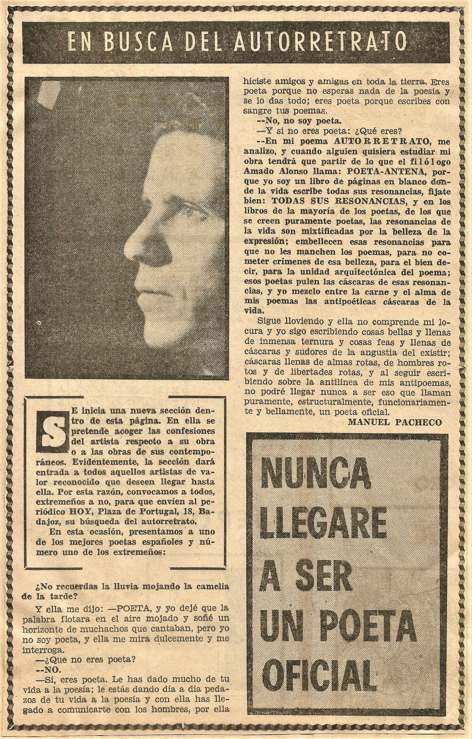 Autorretrato de Pacheco publicado en la secciòn de Artes y Letras del diario Hoy (7 de noviembre de 1971)
