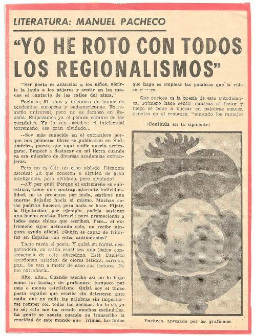 Noticia sobre Pacheco en el diario HOY de Extremadura.