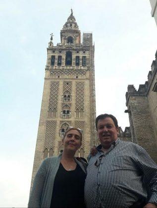 Con una compañera, en Sevilla.