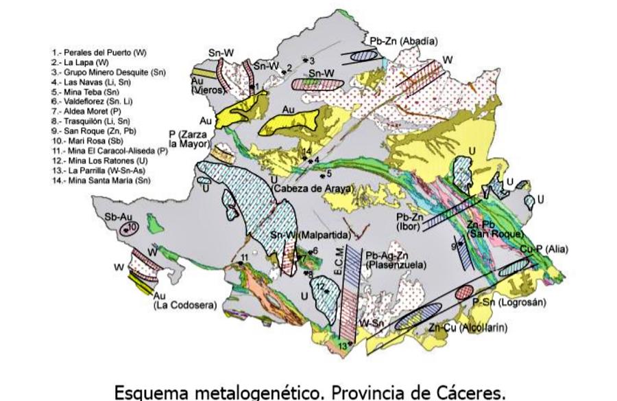 Esquema metalogenético de la provincia de Cáceres. JUNTAEX