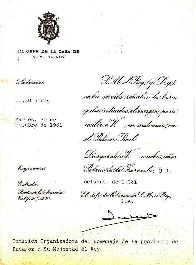 Comunicación que me envió la Casa del Rey para la audiencia. ARCHIVO J.M. PAGADOR
