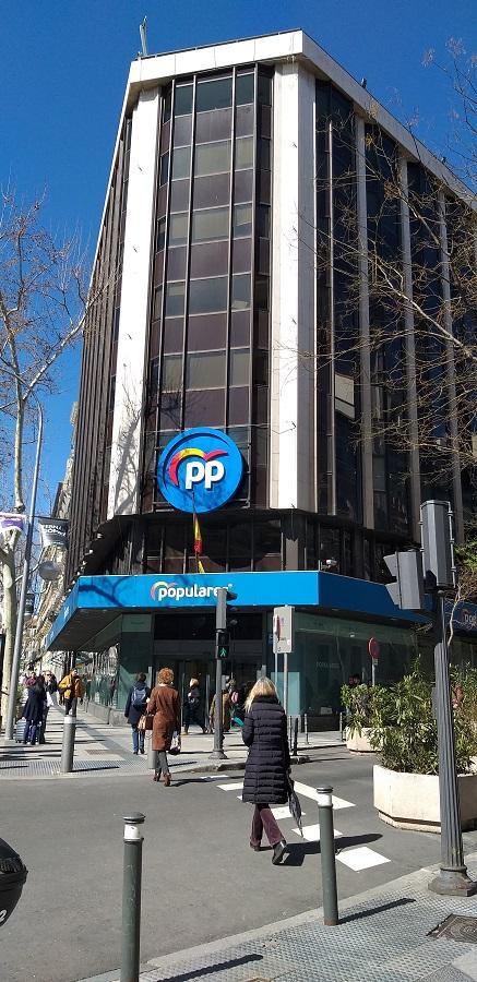 Domicilio actual del PP en Madrid, una sede demasiado contaminada. J.M. PAGADOR