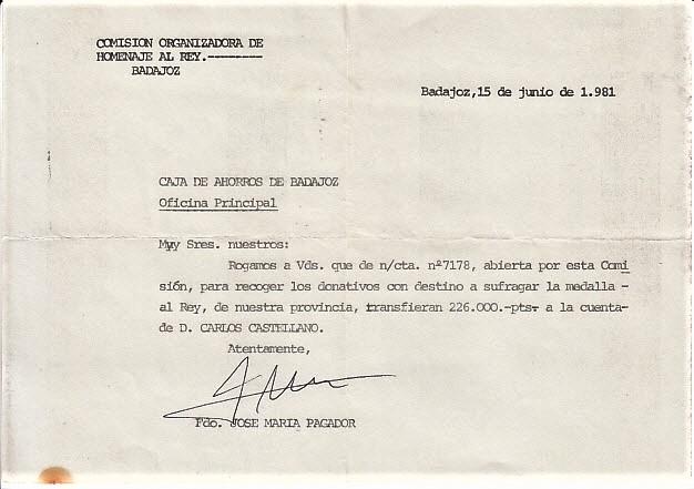 Orden de pago de la Medalla al Rey, firmada por mí. ARCHIVO J.M. PAGADOR
