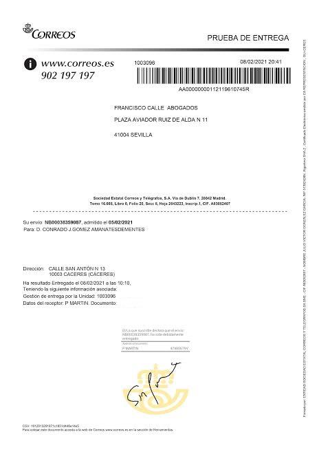 Prueba de entrega del burofax a D. Conrado Gómez-amantesdementes
