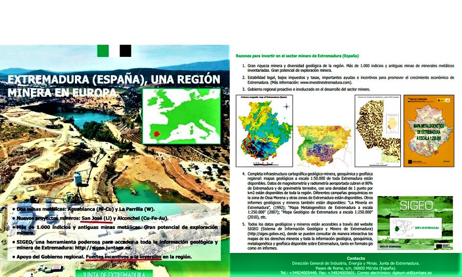 Publicidad de la Junta de Extremadura para desarrollar la minería. Composición ALEJO HERNÁNDEZ