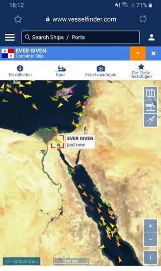 Detalle ampliado de ubicación que incluye parte del Mar Rojo. VESSELFINDER