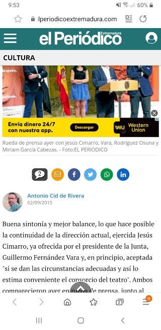 El Periódico Extremadura, 2 septiembre 2015. Vara ofrece a dedo el Festival a Cimarro.