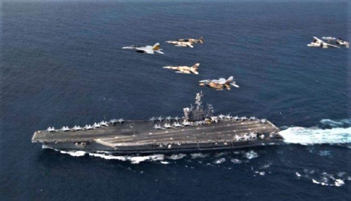 El USS Eisenhower y varios cazabombarderos americanos y marroquíes, en las maniobras. USN.
