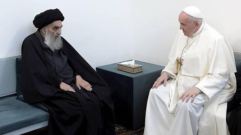 La reunión del Papa Francisco con el Gran Ayatola Alí Al Sistani abre un tiempo de esperanza. RTVE