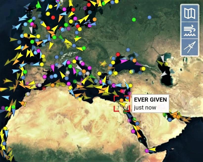 Mapa de la ubicación actual del buque en el contexto mediterráneo. VESSELFINDER