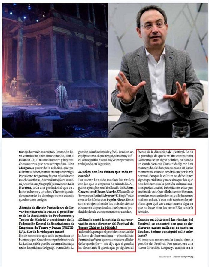Página de la revista en la que Cimarro declaró en el verano de 2016 que