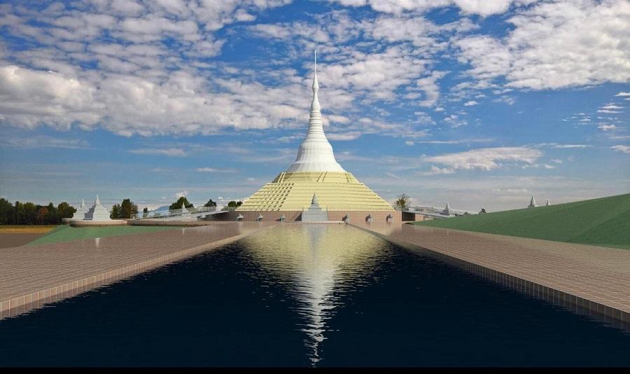 Recreación del gran complejo budista que se va a construir en Cáceres. F. LUMBINI GARDEN