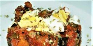 Alboronía al curry con langostinos orly