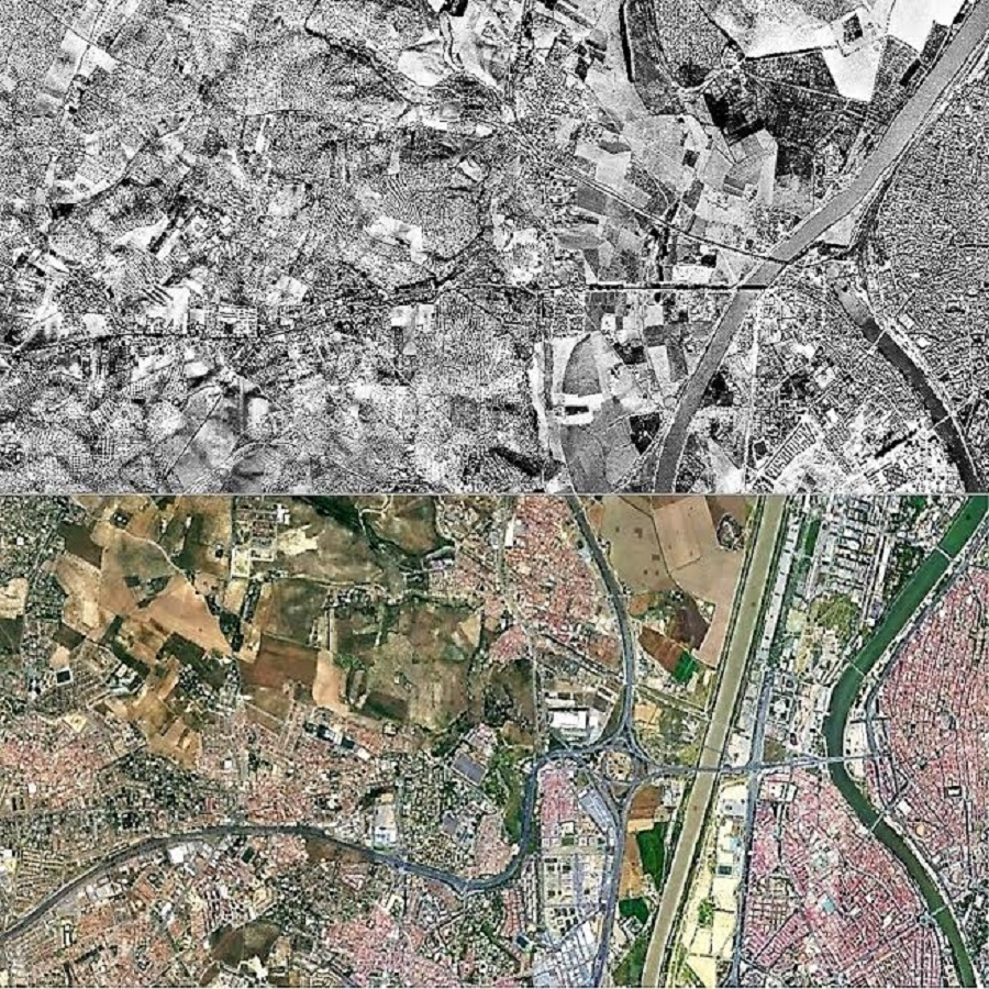 Expansión urbana hacia el oeste de Sevilla entre 1956 (arriba; ortofoto del vuelo fotogramétrico de España de 1956) y 2020 Google Earth.