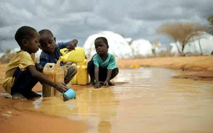 Niños keniatas recogiendo agua