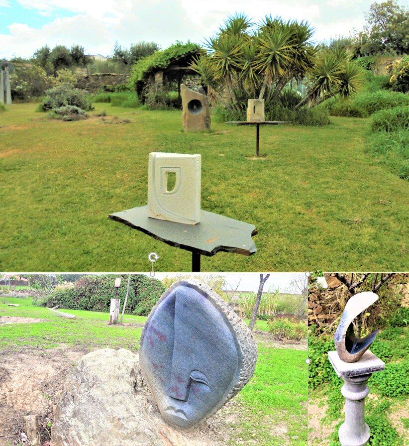 Collage de fotos de diferentes ángulos del jardín de esculturas de Salorino.
