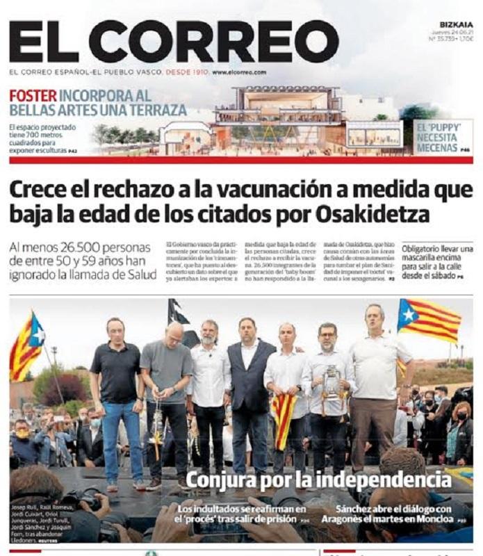 El principal periódico vasco retrata el desafío en primera página.