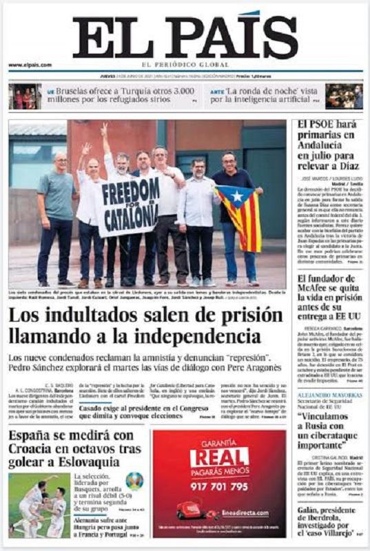 Primera página de El País, recogiendo lo que es una evidencia para toda la ciudadanía española.