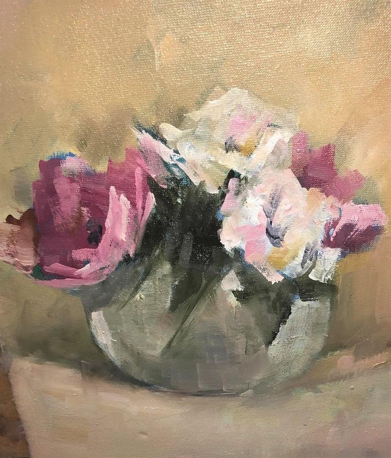 Una de sus bellas composiciones florales.