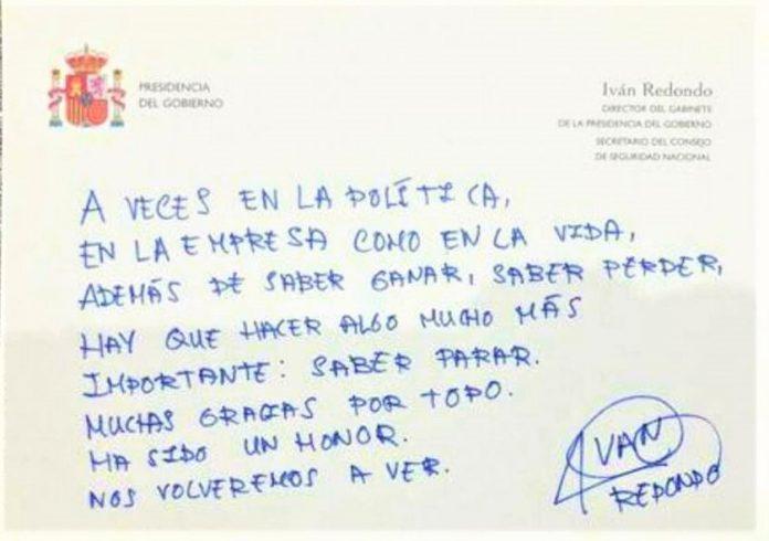 El falaz mensaje de despedida de Iván Redondo. GABINETE DE PRESIDENCIA
