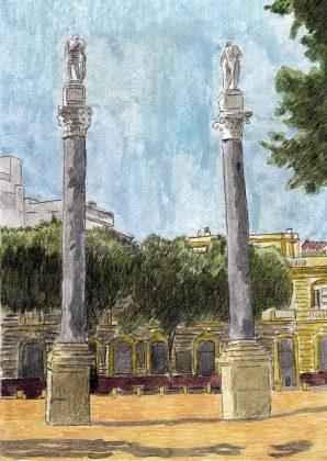 Las columnas. Témpera y lápiz sobre cartulina base Guarro 350 g.