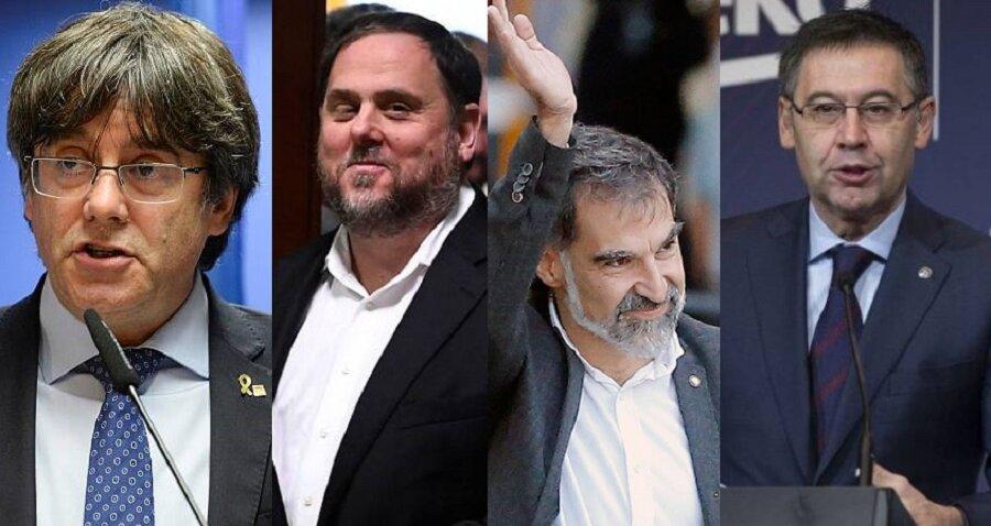 Puigdemont, Junqueras, Cuixart, Bartomeu algunas caras de la ruina de Cataluña y del Barça. FOTOMONTAJE PROPRONEWS. RTVE