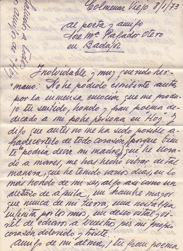 Carta de Álvarez Lencero a su 'hermano' José María. ARCHIVO J.M.P.
