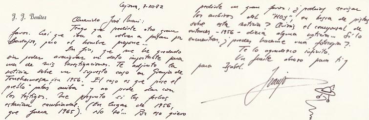 Carta de J.J. Benítez, sobre temas OVNI. ARCHIVO J.M.P.