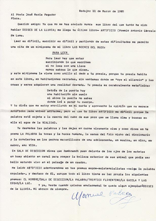 Carta de Manuel Pacheco. ARCHIVO J.M.P.