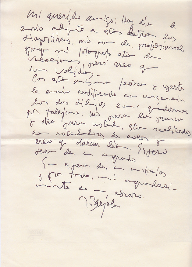 Carta y respuestas de Juan Barjola para entrevista con el periodista. ARCHIVO J.M.P.