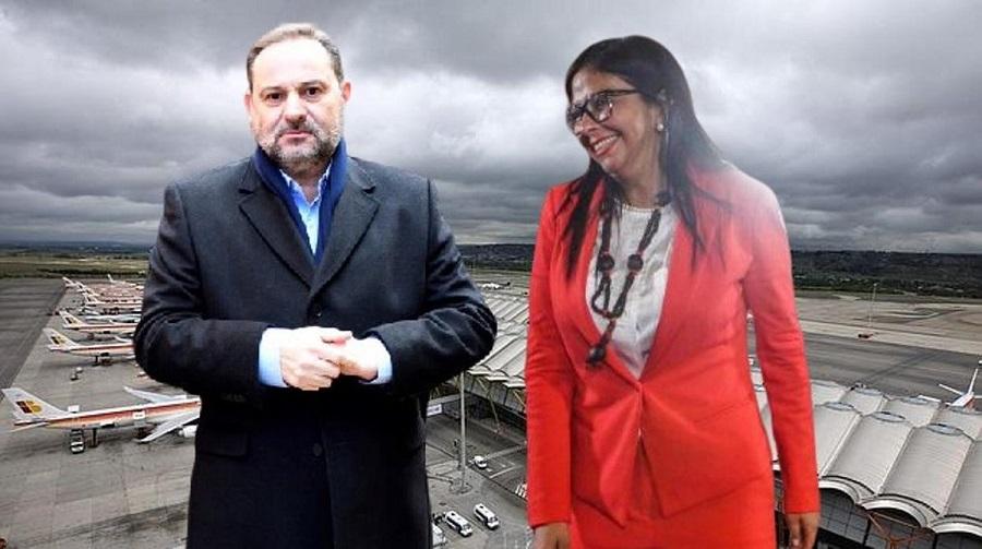 Delcy y Ábalos, un encuentro que selló el destino del ministro. TWITTER