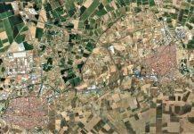 De la unión de Don Benito y Villanueva saldría la tercera ciudad extremeña. Vista aérea. GOOGLE MAPS
