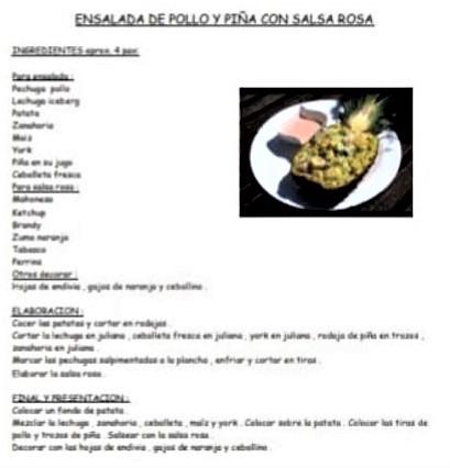 Ensalada de pollo y piña con salsa rosa