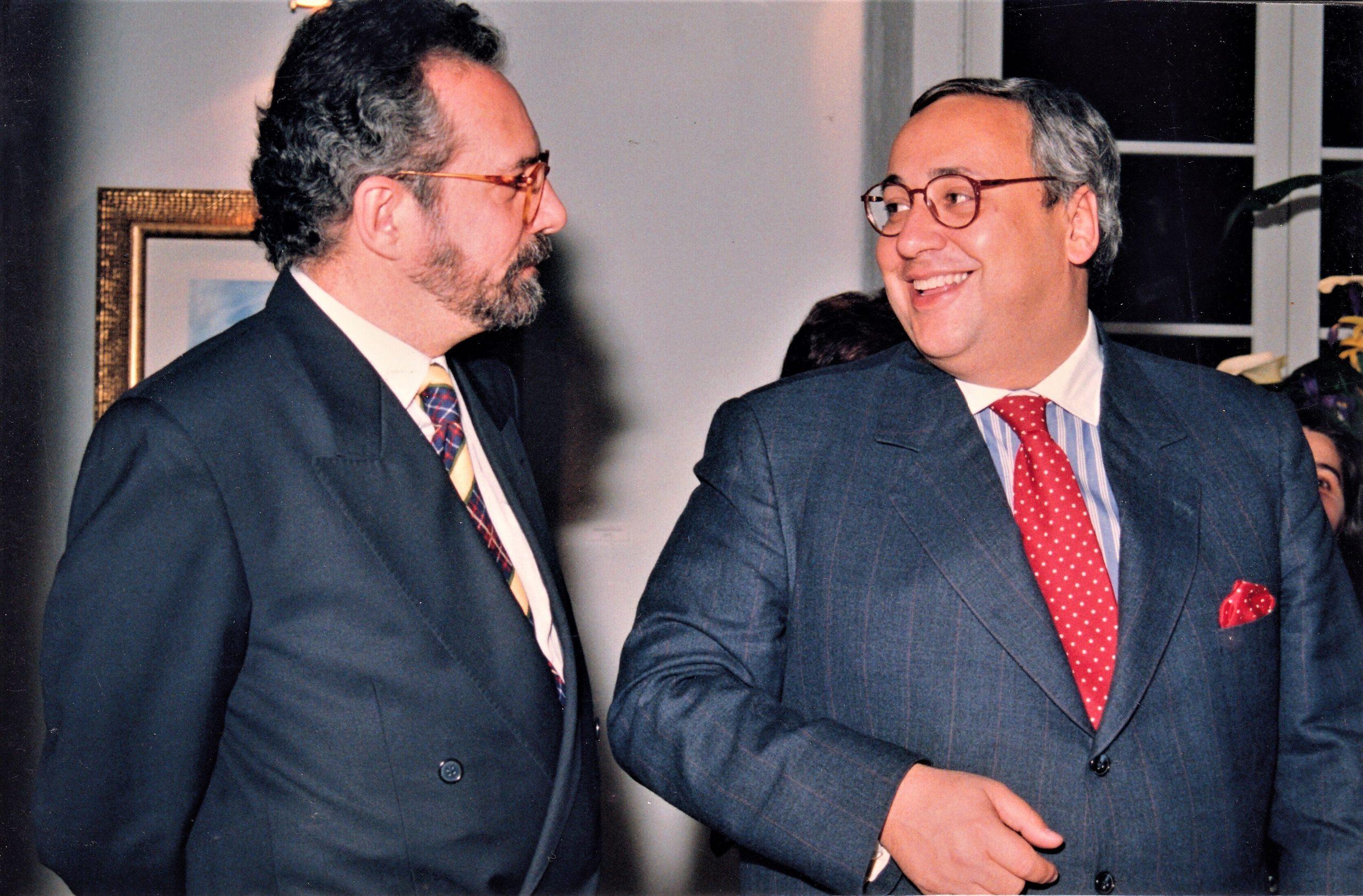 José María Pagador, con Alberto Laplaine, mano derecha de Sampaio en la cámara municipal y en la presidencia. ARCHIVO J.M.P.