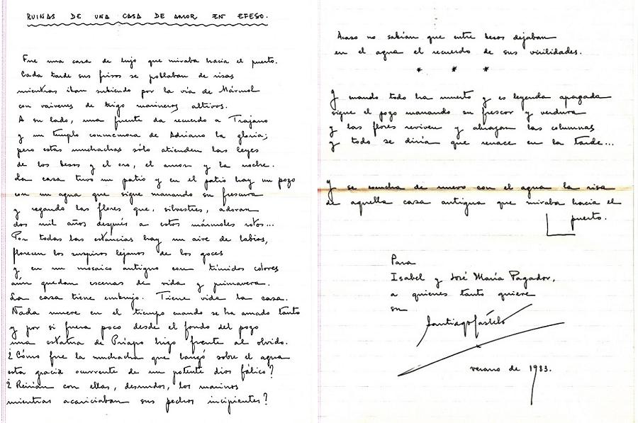 Original manuscrito de un poema de Santiago Castelo dedicado al periodista. ARCHIVO J. M.P.