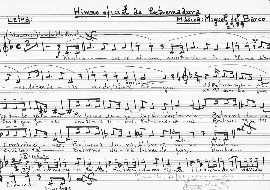 Partitura manuscrita por Miguel del Barco del himno de Extremadura. ARCHIVO JMP