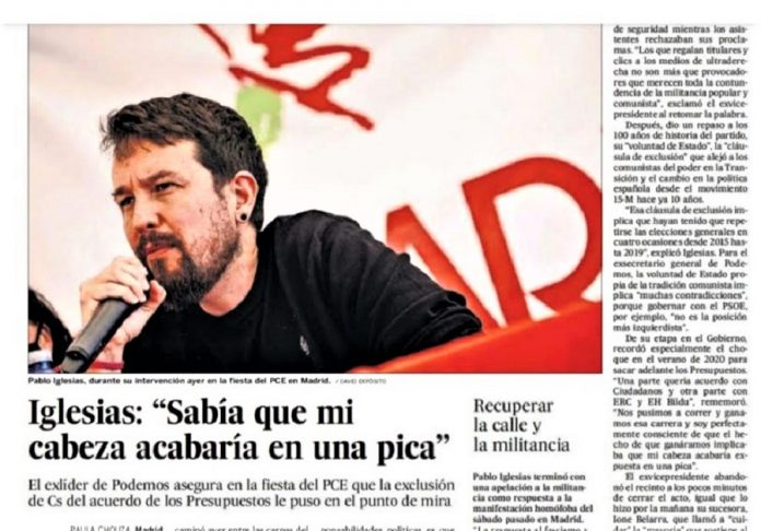 Recorte de El País con la cabeza de Iglesias y su imaginaria pica.