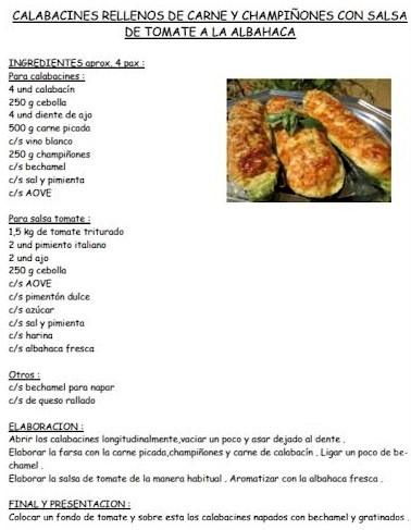 Calabacines rellenos de carne y champiñones